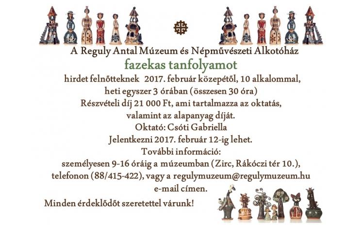 Fazekas tanfolyam a Reguly Antal Múzeum és Népművészeti Alkotóházban